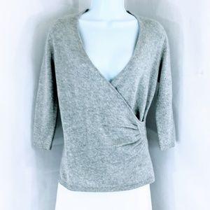 Qi Cashmere 100% Cashmere Faux Wrap Sweater